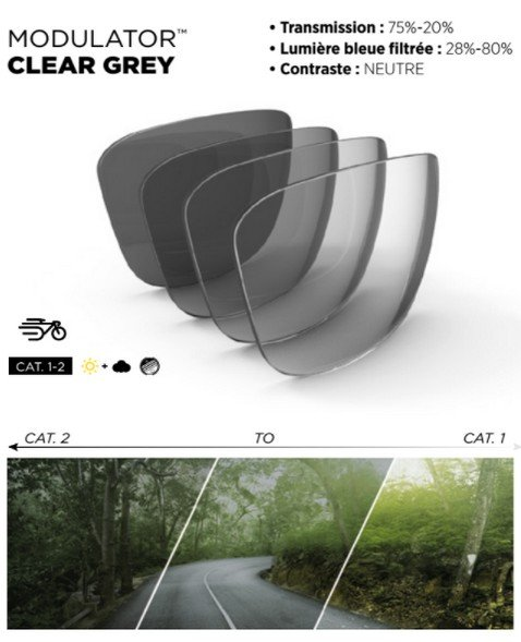 Bolle modulator clear grey photochromic lens